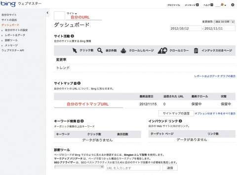 Bing(旧MSN)のサイト登録-サイト追加完了後ダッシュボード